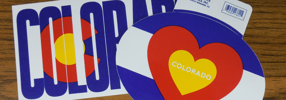 colorado stickers with flag print